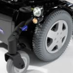Invacare TDX SP2 showing the drive wheel in the wet black colour option